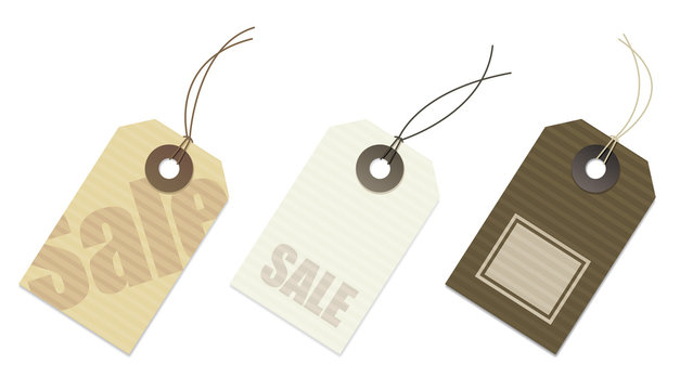 set of sale and price tags in paper. With copy space on tags