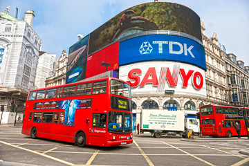 Piccadilly Circus on March 18, 2019 in London. Famous advertisements of TDK and Sanyo have been here for at least 20 years and are considered symbols of the  famous square. United Kingdom.