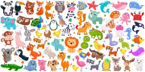 Big set of cute cartoon animals. Vector illustration. Wall mural