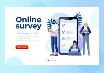 online survey vector illustration concept, people filling online survey form on gadgets, to do list paper note. Can use for landing page template, ui, web, homepage, poster, banner, flyer