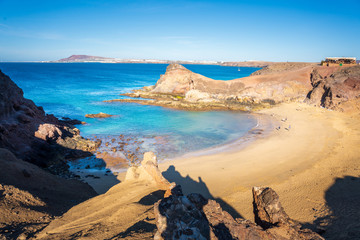 Playa de Papagayo, wild and lonely beach in Lanzarote, Canary Islands.
