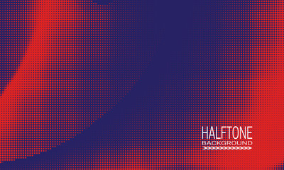 Halftone background design with red dots on blue. Monochrome abstract banner template. Fotoväggar