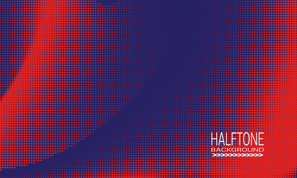 Halftone background design with red dots on blue. Monochrome abstract banner template.