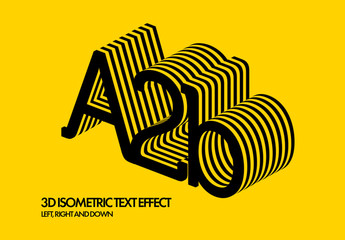 Isometric 3D Text Effect Mockup