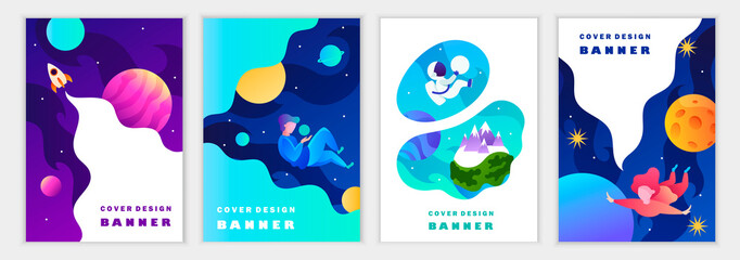 Set of colorful modern space templates for banners, posters, flyers, covers, cards. Astronaut, planets, galaxy, people. Vector cartoon illustration.
