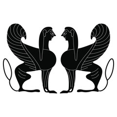 Symmetrical vintage decor with two funny antique sphinx. Black and white silhouette.