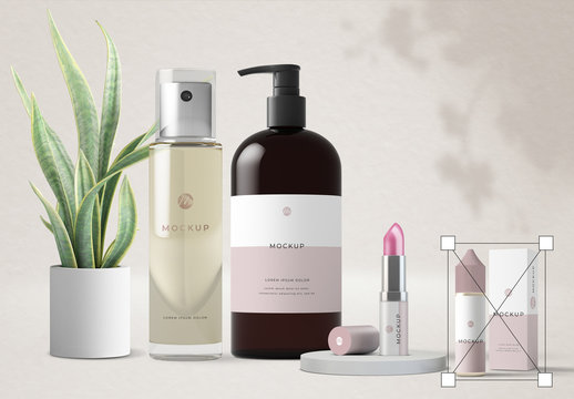 Cosmetic Products and Plants Mockup