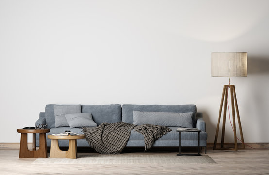 Mock up modern interior with empty white background wall, Blue sofa, 3D render