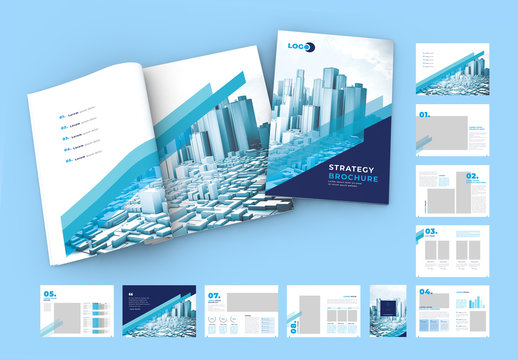 Marketing Strategy Brochure Layout with Blue Accents