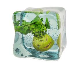 Kohlrabi frozen in ice cube, 3D rendering
