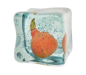 Pumpkin frozen in ice cube, 3D rendering