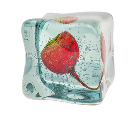 Red big radish frozen in ice cube, 3D rendering