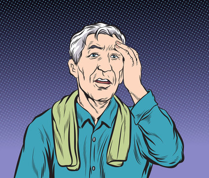 The old man who lost his memory didn't remember anything.Pop art vector illustration drawing. Comic book work style.