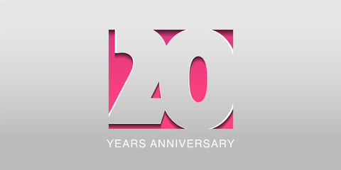 20 years anniversary vector icon, symbol, logo. Graphic background or card