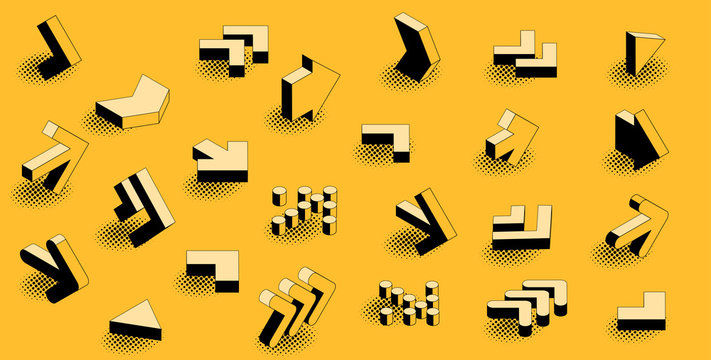 Flat design black an yellow retro comic style isometric arrow icon set.