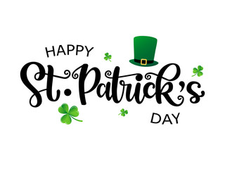 Hand drawn St. Patrick's Day logotype. Vector lettering typography with leprechaun's hat and clovers on white background. Festive design for print, poster, flyer, party invitation, icon, badge, sign Wall mural