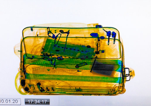 Scanned baggage on the x-ray scanner screen at the airport