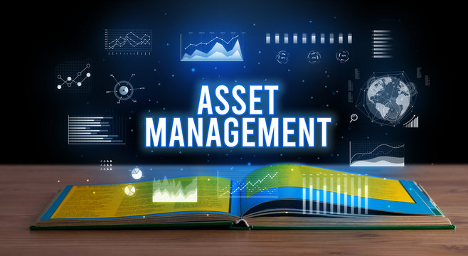 ASSET MANAGEMENT inscription coming out from an open book, creative business concept