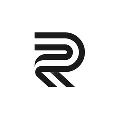 R letter logo formed by two parallel lines with noise texture.