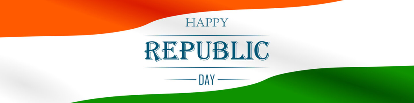 Panoramic banner with the text Happy Republic Day on a background of the national flag of India. Vector illustration for badge, banner, poster, flyer, brochure and advertising promotion sale.