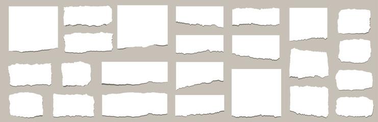Fototapeta Torn sheets of paper. Torn paper strips set. Vector illustration obraz