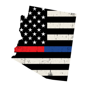State of Arizona Police and Firefighter Support Flag Illustration