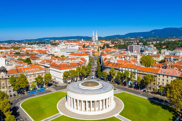 Zagreb, capital of Croatia, city center aerial from drone, art gallery and cathedral view Fototapete