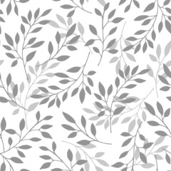 Floral seamless pattern of the branches. Vector illustration.  Background branches with gray leaves on white background.
