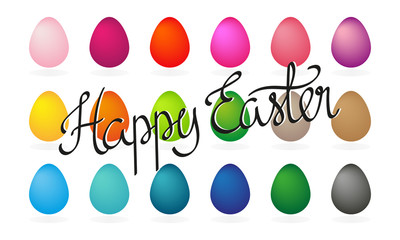Happy Easter horizontal banner vector. Happy Easter horizontal greeting card with easter eggs