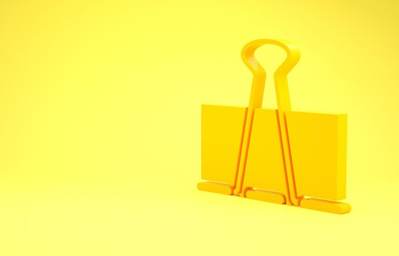 Yellow Binder clip icon isolated on yellow background. Paper clip. Minimalism concept. 3d illustration 3D render