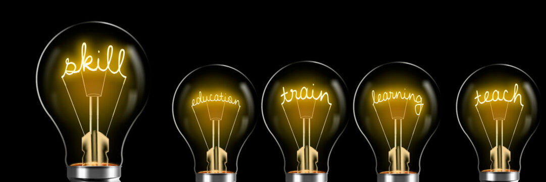 Concepts related to skill and education, glowing in bright bulb