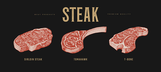 Set of slices steaks vector illustration. Sirloin, Tomahawk and T-bone meat steaks. Hand-drawn pieces of meat and beef tenderloin. Design elements of a butcher shop, farmers market, restaurant.