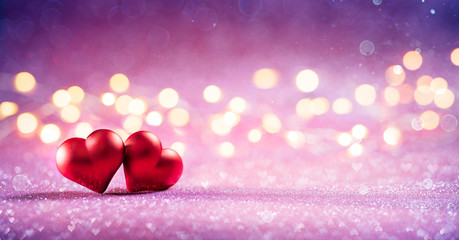 Couple Red Hearts On Pink Glitter With Bokeh Lights