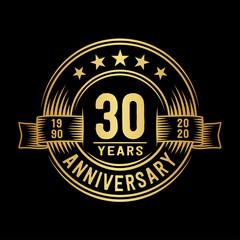 30 years anniversary celebration logotype. Vector and illustration.