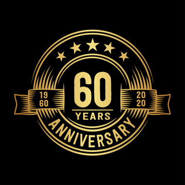 60 years anniversary celebration logotype. Vector and illustration.