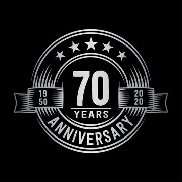 70 years anniversary celebration logotype. Vector and illustration.