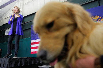 Democratic 2020 U.S. presidential candidate Warren is joined by her family dog Bailey in Milford