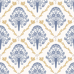 French shabby chic damask vector texture background. Carnation folk flower off white , yellow blue seamless pattern. Hand drawn floral interior home decor swatch. Classic farmhouse style allover print