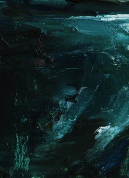 Abstract oil painting. Abyss, ocean waves, seascape hand drawn oil illustration