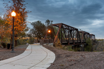 Historic Trestle Train Bridge in the dusk, Winters, California, USA, now a pedestrian pathway