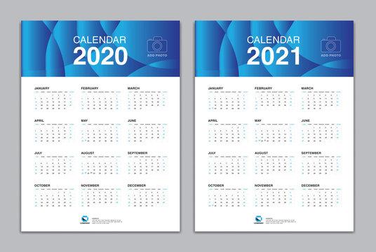 Calendar template for 2020, 2021 year, Poster, Wall Desk Calendar Design, simple calendar, Week Start On Sunday, Planner, Stationery, Printing, vertical artwork