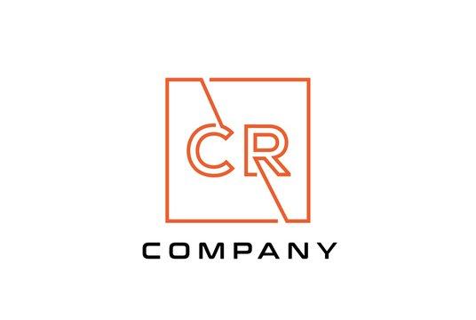 Orange square initial letter CR line logo design vector graphic