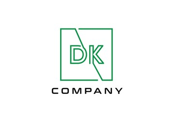 Green square initial letter DK line logo design vector graphic