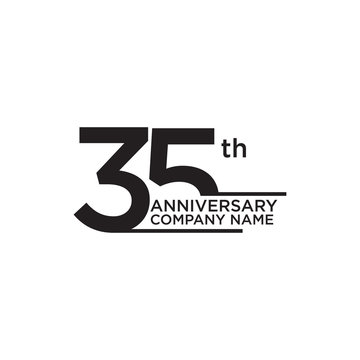 35th year anniversary icon logo design template