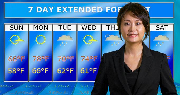 Asian American meteorologist reporting weather