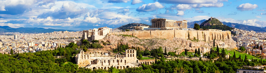 Poster Mediterraans Europa Panorama of Athens with Acropolis hill.