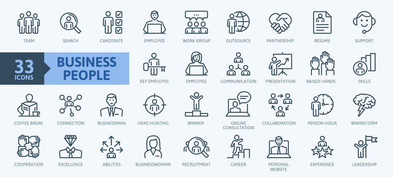 Business people, human resources, office management - thin line web icon set. Outline icons collection. Simple vector illustration.