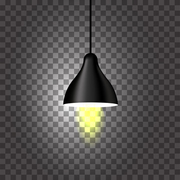Illuminated Pendant or Ceiling Lamp on Black Png Background.