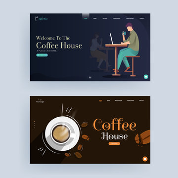 Coffee House landing page or web banner design in two color option.