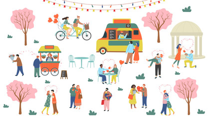 St. Valentine's day set of romantic people. Man and woman hugging, drinking, walking, giving presents, making proposal, riding a tandem bike. Cute vector illustration in flat cartoon style.